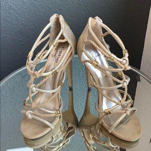 Bebe gold strappy heels